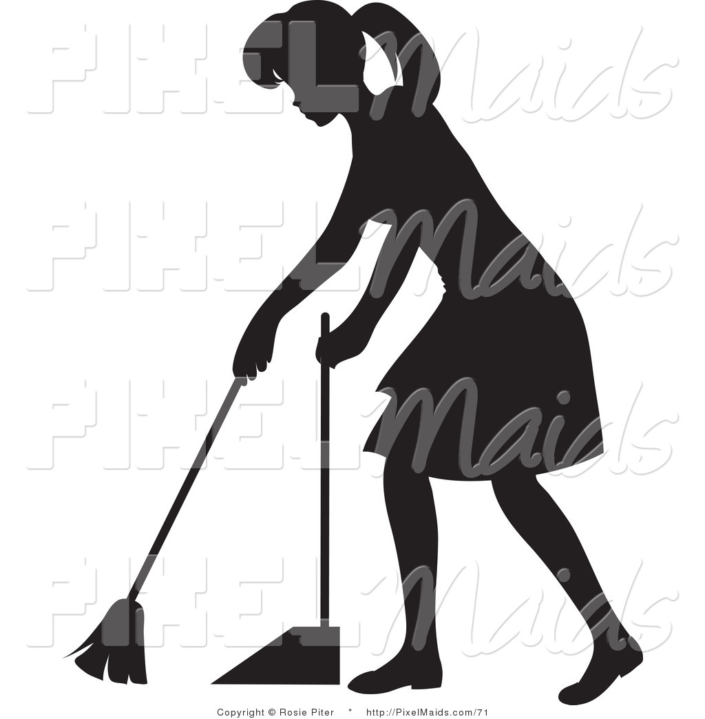 clipart of a black silhouetted housekeeper woman sweeping a floor by rosie piter 71 clipart of a black silhouetted