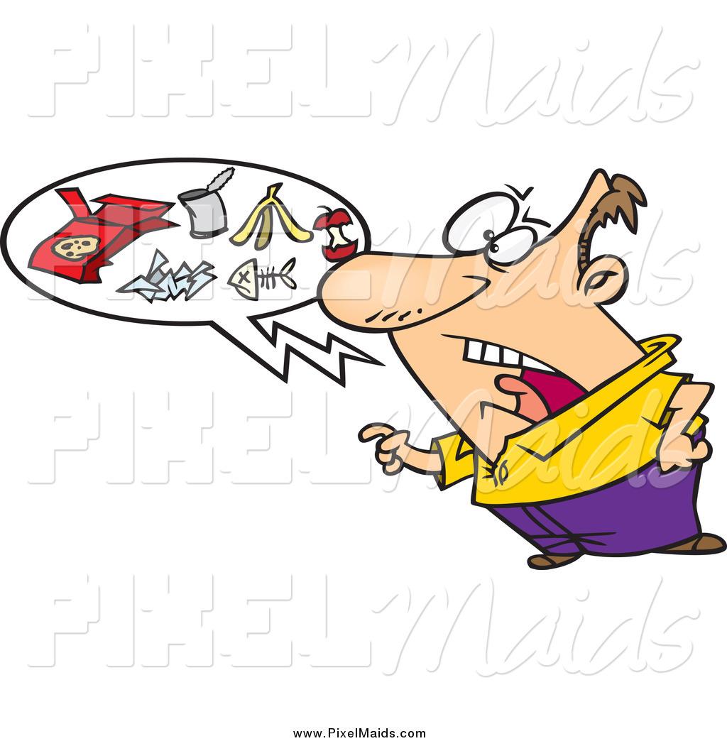 Clipart Of A Cartoon Caucasian Man Talking Trash By Toonaday 62967