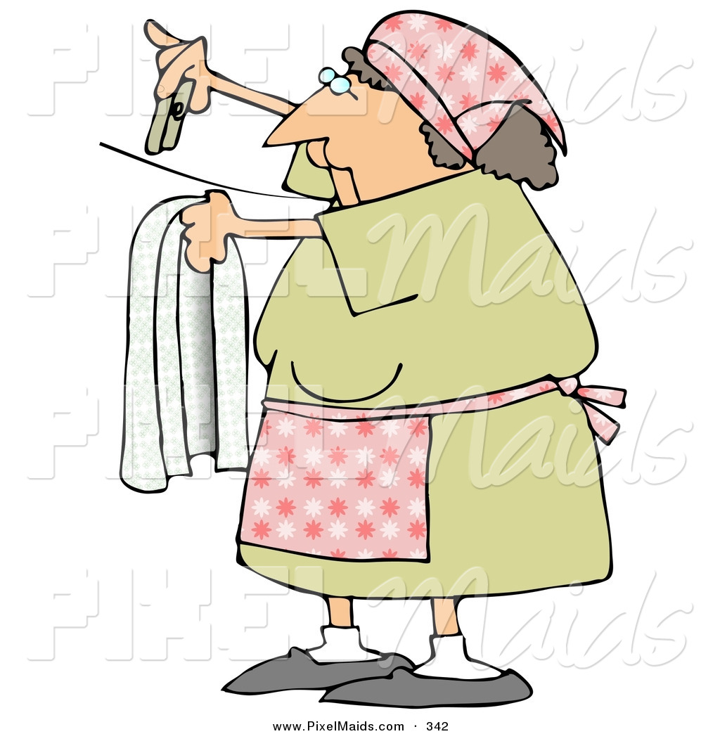 Two Girls Drying Their Clothes Illustration Stock Vector (Royalty Free)  371842663