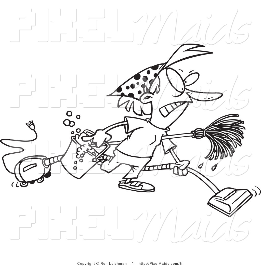 Clipart of a coloring page of a cartoon black and white outline design of a grumpy woman spring cleaning