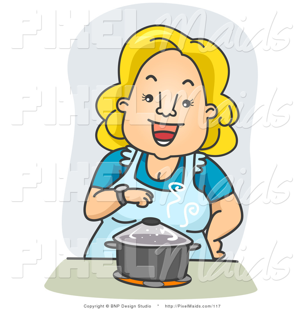 Miraculous Clipart Of A Happy Housewife Standing Over A Pot On A Stove Interior Design Ideas Clesiryabchikinfo