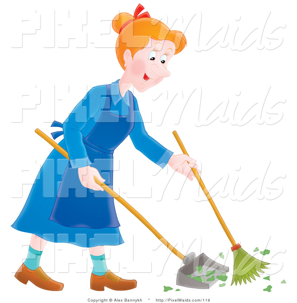 Pleasing Clipart Of A Happy Housewife Sweeping Up A Mess By Alex Interior Design Ideas Clesiryabchikinfo