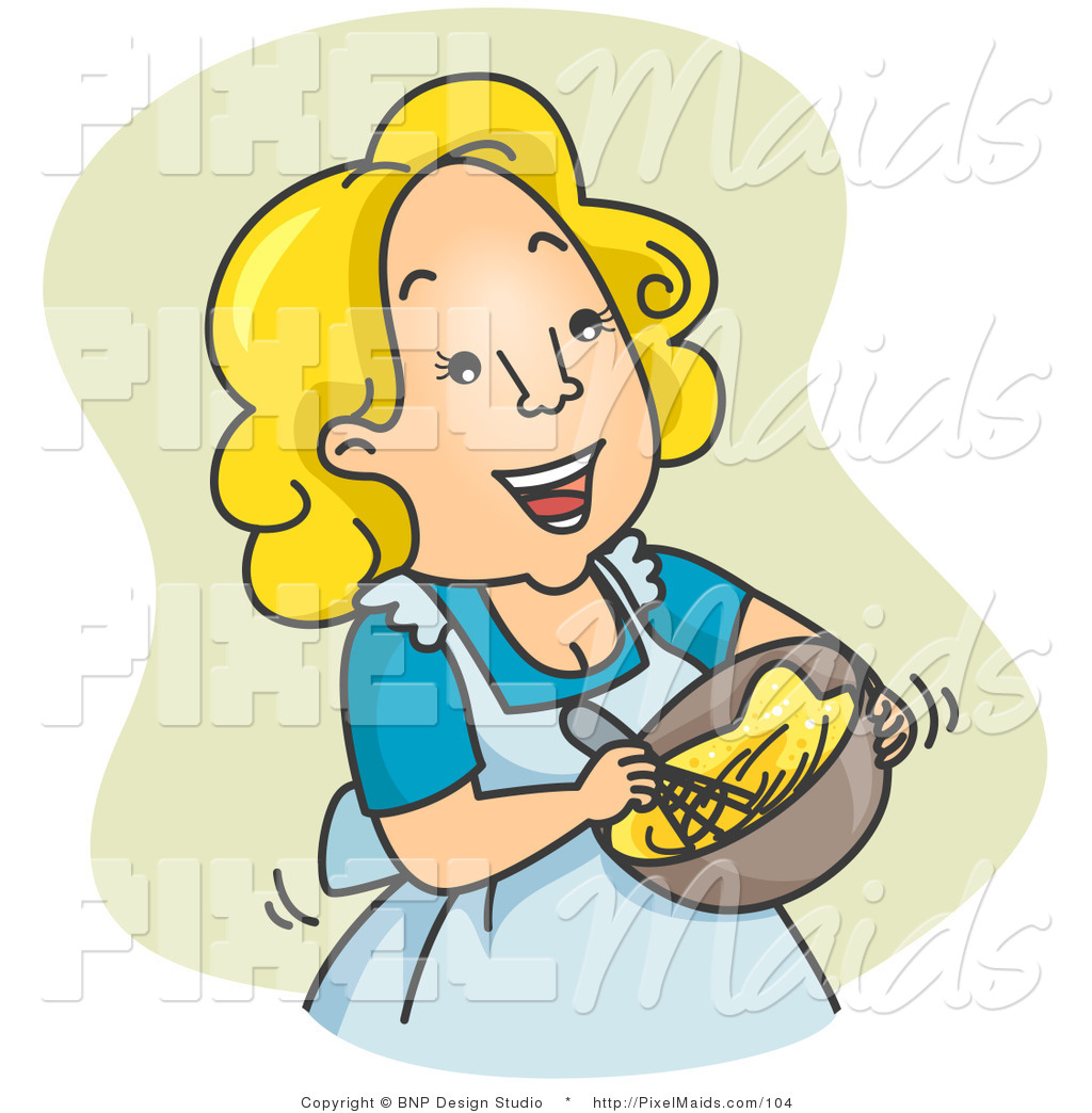 Superb Clipart Of A Happy Housewife Woman Beating Eggs Over Green Interior Design Ideas Clesiryabchikinfo