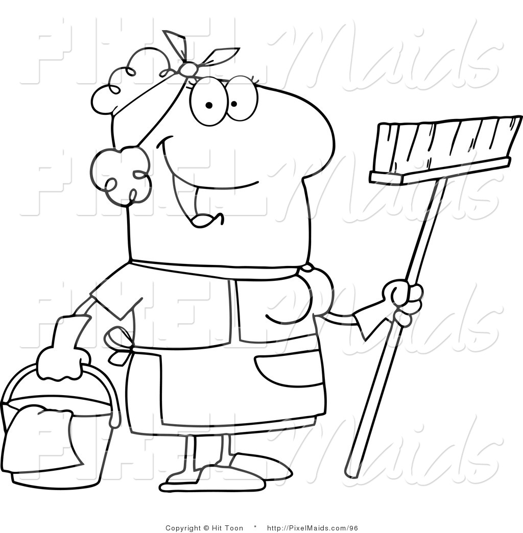 Clipart Of An Outlined Friendly Maid Coloring Page Royalty Free