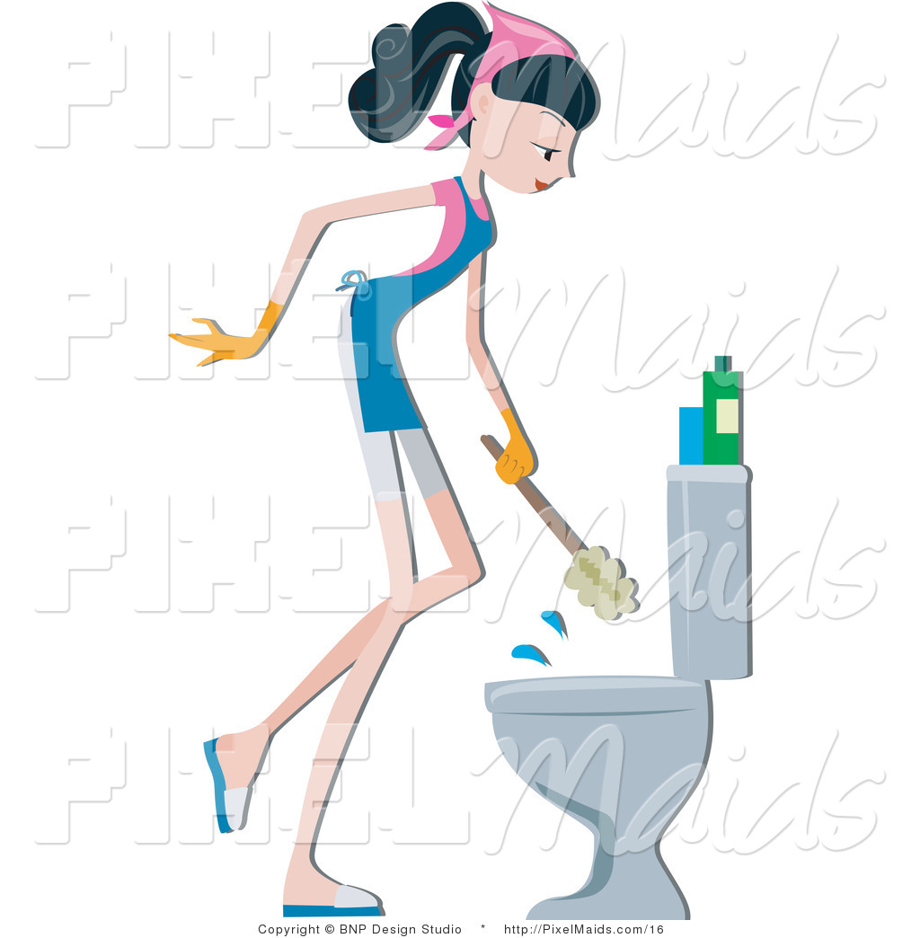 Vector Clipart Of A Maid Cleaning A Toilet By BNP Design Studio - Bathroom maid