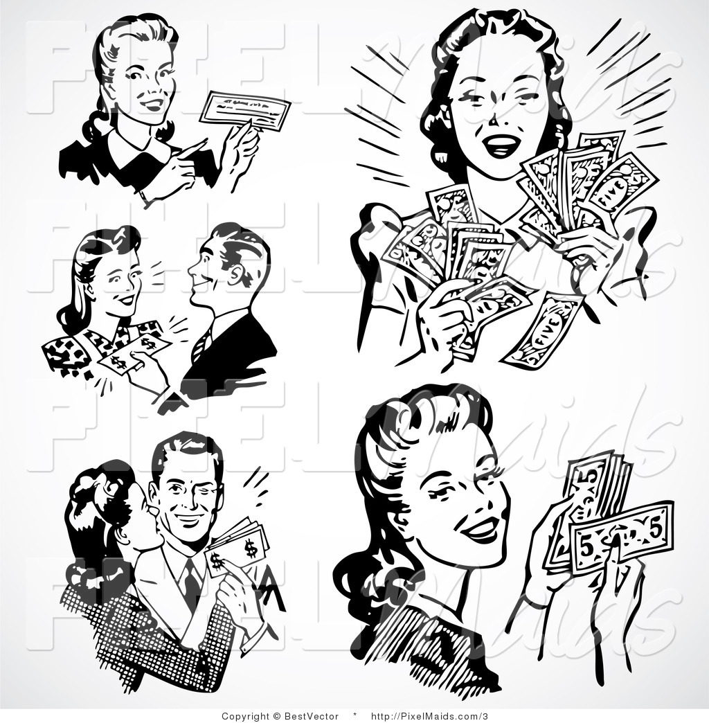 Vector Clipart of Prosperous Retro People by BestVector - #3