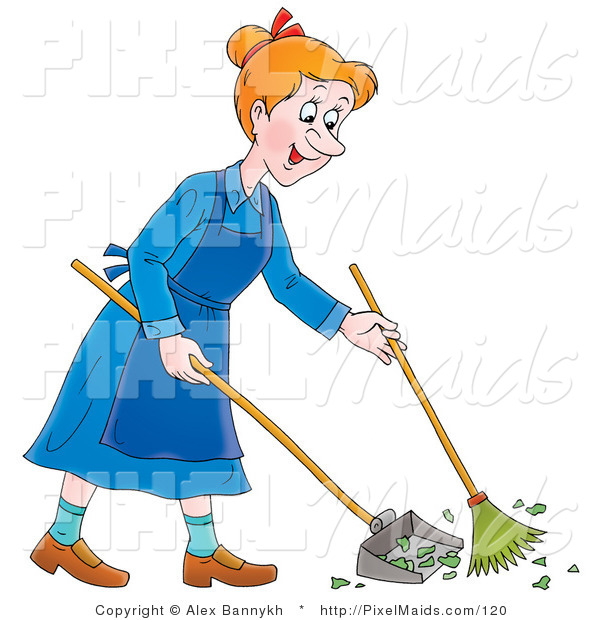 Clipart of a Cartoon Happy Woman Sweeping up a Mess with a Broom